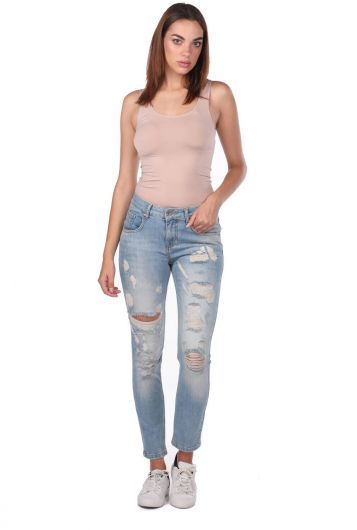Blue White Women's Ripped Jeans - Thumbnail