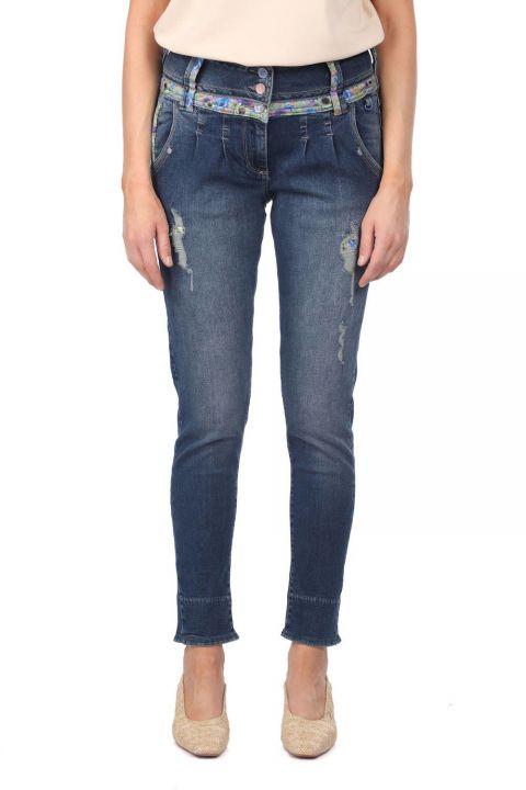 Синие белые женские джинсовые брюки с цветочным узором