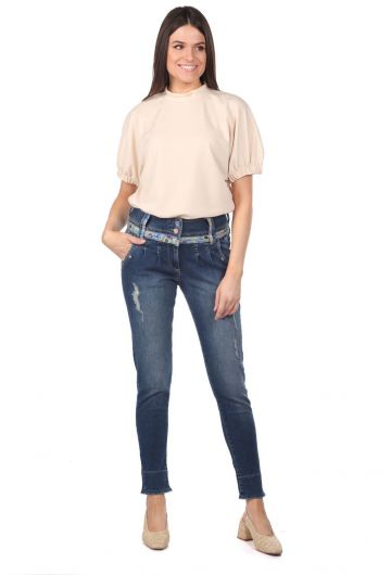 Синие белые женские джинсовые брюки с цветочным узором - Thumbnail