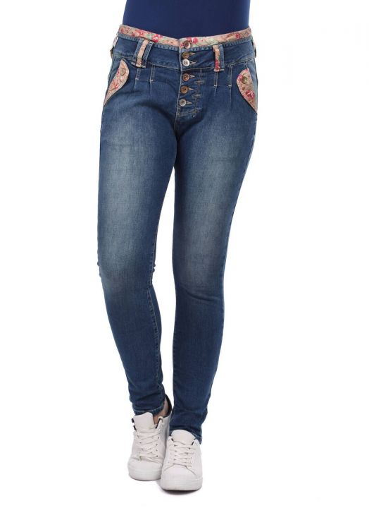 Blue White Women's Flower Patterned Belt Jean Trousers