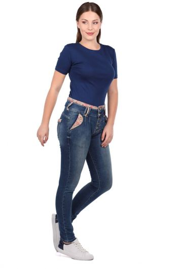 Blue White Women's Flower Patterned Belt Jean Trousers - Thumbnail