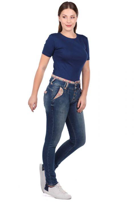 Синие белые женские джинсовые брюки с поясом с цветочным узором