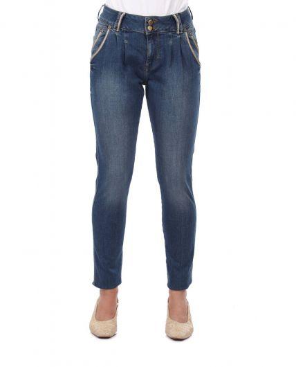 بنطلون جينز فضفاض مخطط باللونين الأبيض والأزرق - Thumbnail