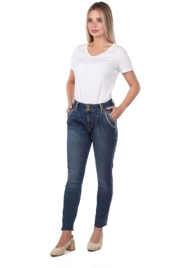 Blue White Women's Striped Baggy Jean Trousers - Thumbnail