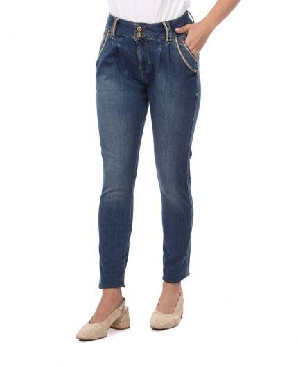 BLUE WHITE - Сине-белые женские полосатые мешковатые джинсовые брюки (1)