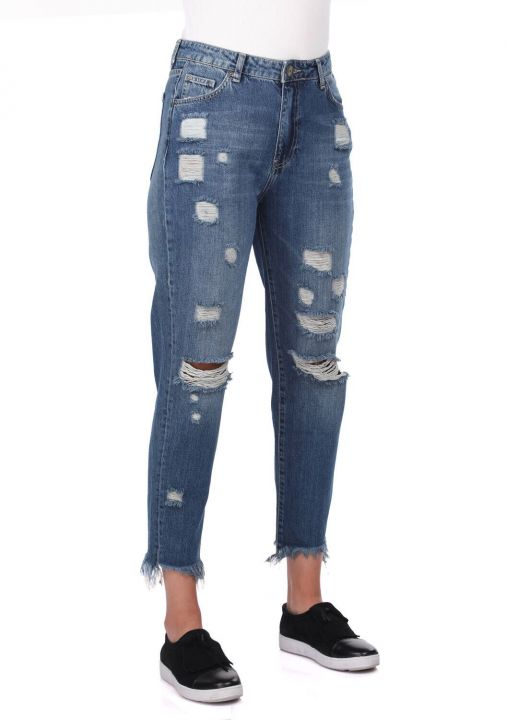 Blue White Women Mom Fit Ripped Jeans