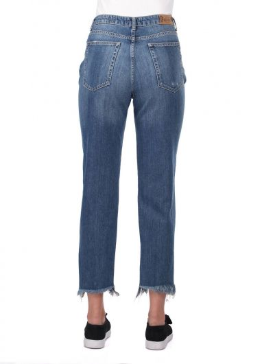 Blue White Women Mom Fit Ripped Jeans - Thumbnail
