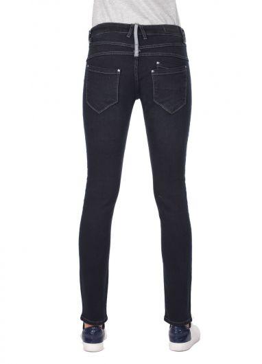 بنطلون جينز فضفاض بأزرار زرقاء وبيضاء نسائية - Thumbnail