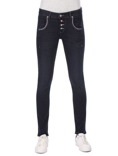 Сине-белые женские мешковатые джинсовые брюки с карманами и пуговицами - Thumbnail