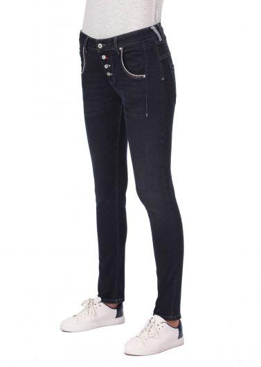BLUE WHITE - Сине-белые женские мешковатые джинсовые брюки с карманами и пуговицами (1)