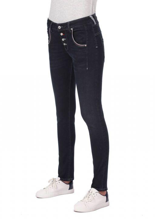 Сине-белые женские мешковатые джинсовые брюки с карманами и пуговицами