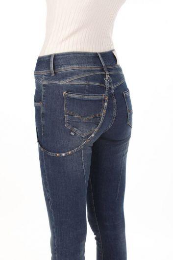 Blue White Women's Baggy Jeans - Thumbnail