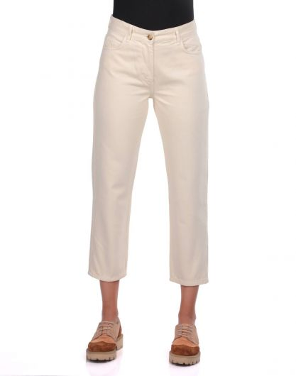 Blue White Mom Fit Women Jeans - Thumbnail