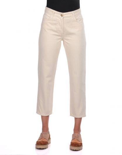 Синие белые женские джинсы Mom Fit - Thumbnail