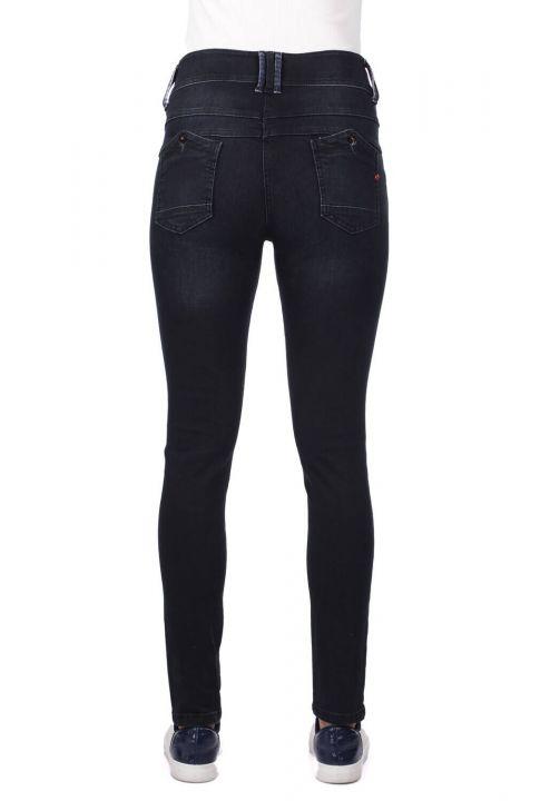 Blue White 6 Button Women Jean Trousers