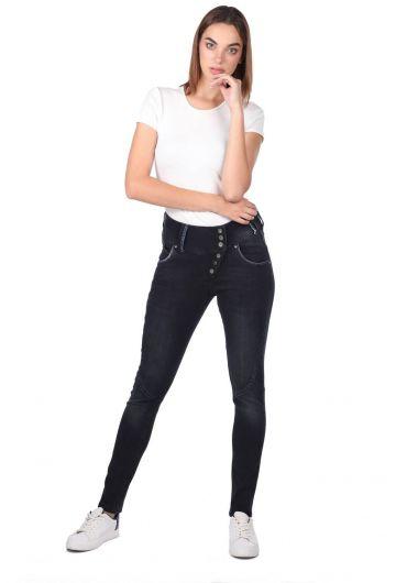 Blue White 6 Button Women Jean Trousers - Thumbnail