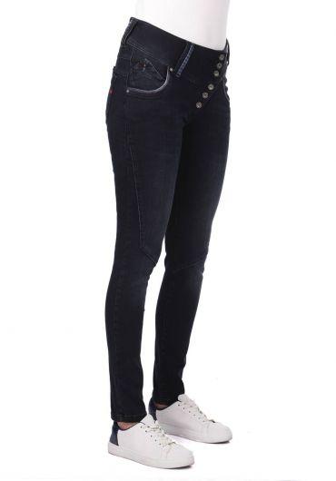 BLUE WHITE - Голубые белые женские джинсовые брюки с 6 пуговицами (1)