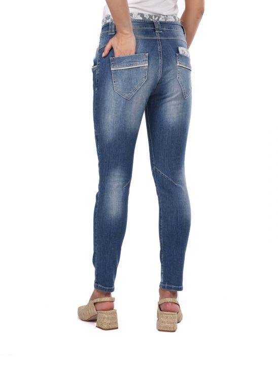 بنطلون جينز أزرق أبيض نسائي