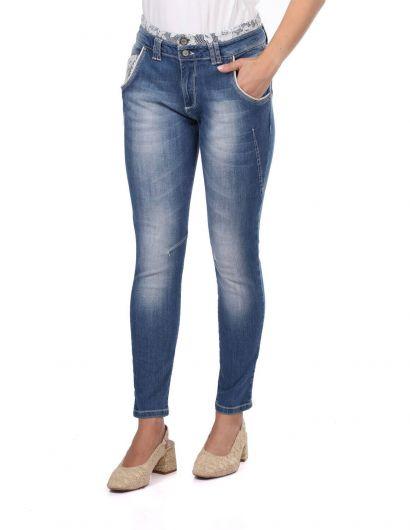 Blue White Women's Laced Jean Trousers - Thumbnail