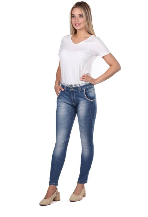 Blue White Women's Laced Jean Trousers