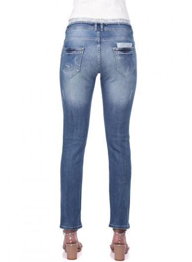 Сине-белые женские кружевные джинсовые брюки с деталями - Thumbnail