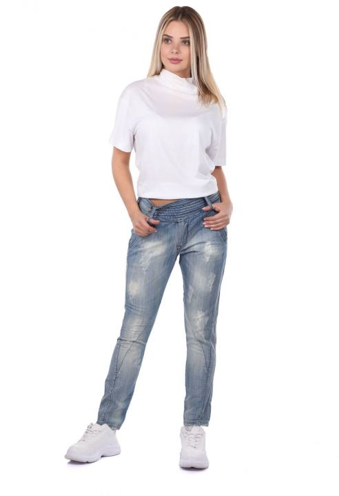 Blue White Women's Baggy Jeans