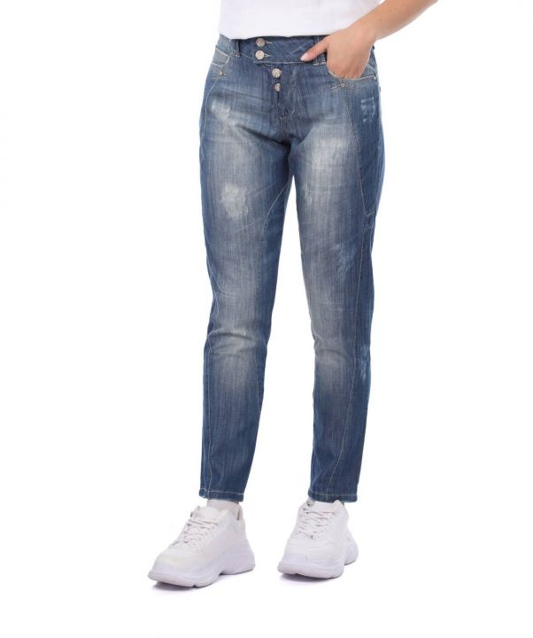 Blue White Women's Ripped Detailed Baggy Jean Trousers
