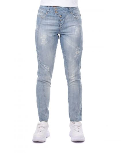 BLUE WHITE - Blue White Women's Ripped Detailed Baggy Jean Trousers (1)