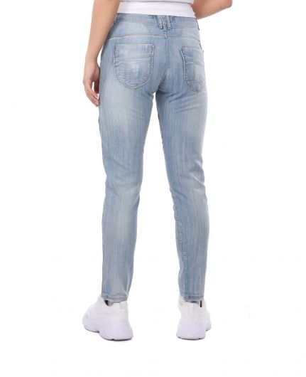 Blue White Women's Ripped Detailed Baggy Jean Trousers - Thumbnail