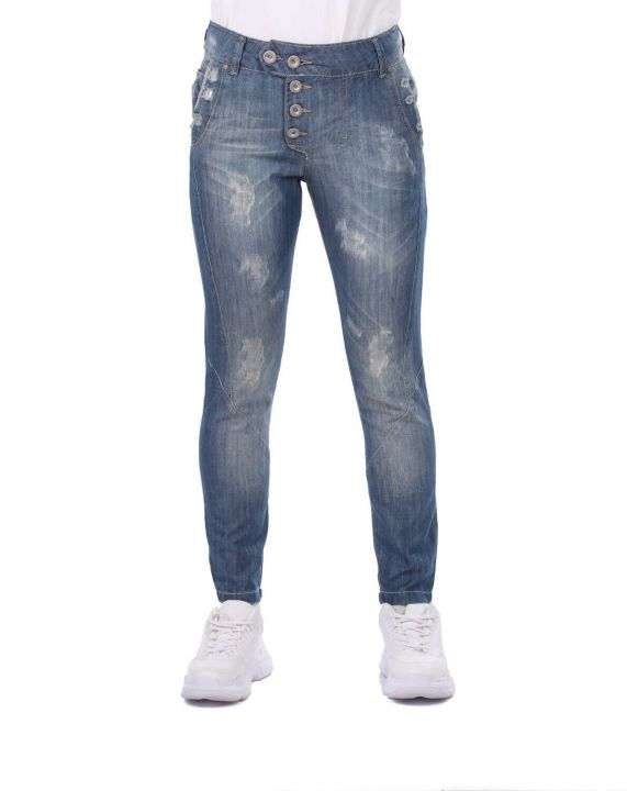 Blue White Women's Buttoned Baggy Jean Trousers