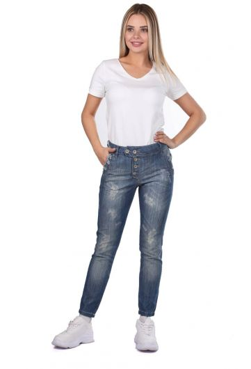 Blue White Women's Buttoned Baggy Jean Trousers - Thumbnail