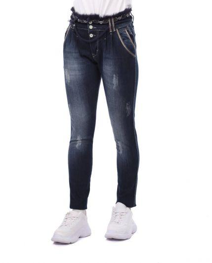 BLUE WHITE - بنطلون جينز نسائي مزين بحزام أزرق وأبيض (1)
