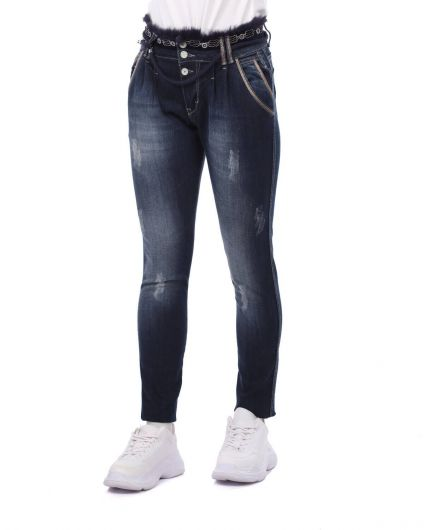 BLUE WHITE - Синий Белый пояс Подробные женские джинсовые брюки (1)
