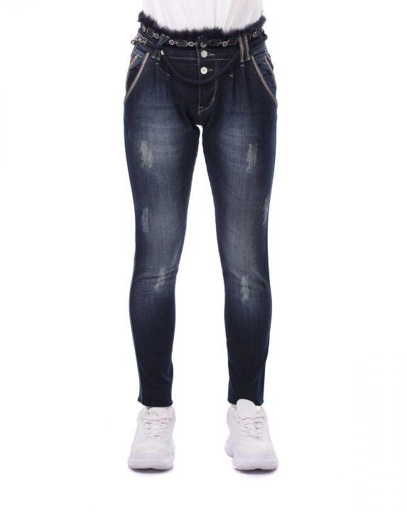 Blue White Belt Detailed Women Jean Trousers
