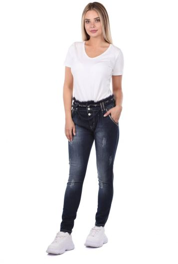 Blue White Belt Detailed Women Jean Trousers - Thumbnail