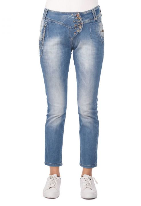 Blue White Women's Pocket Detailed Jean Trousers