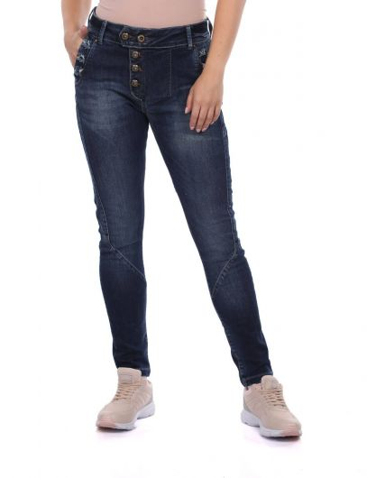 Blue White Women's Buttoned Jean Trousers - Thumbnail