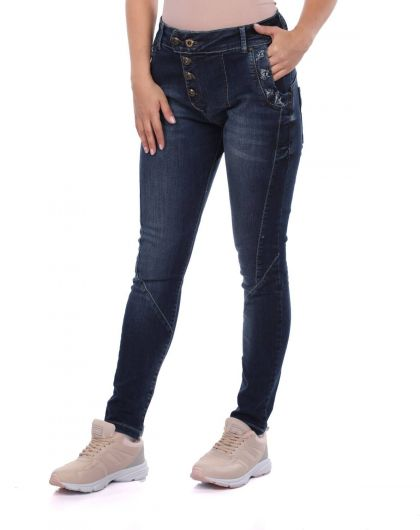 BLUE WHITE - Blue White Women's Buttoned Jean Trousers (1)