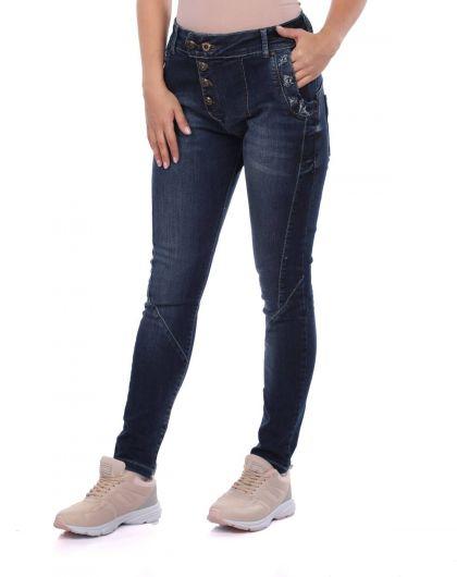 BLUE WHITE - Сине-белые женские джинсовые брюки на пуговицах (1)