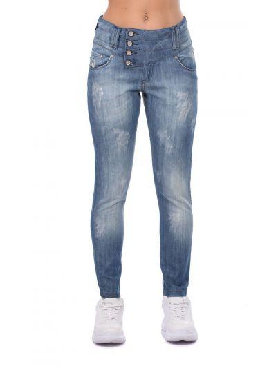 Голубые белые женские мешковатые джинсовые брюки с 4 пуговицами - Thumbnail