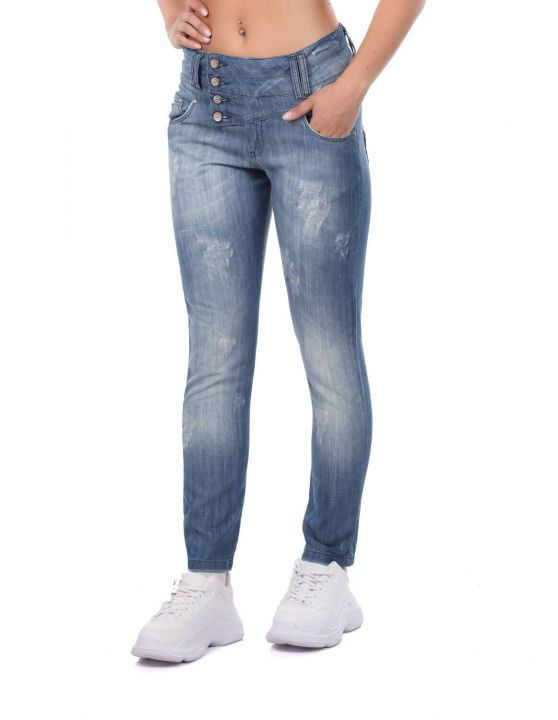 Голубые белые женские мешковатые джинсовые брюки с 4 пуговицами