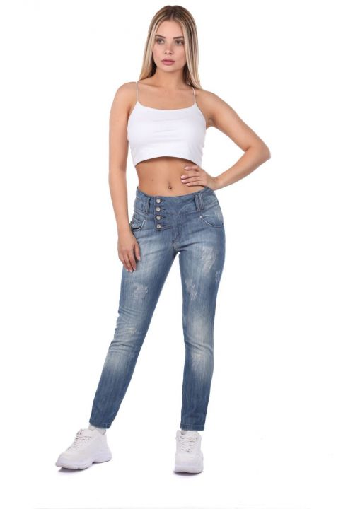 Blue White Women's 4-Button Baggy Jean Trousers