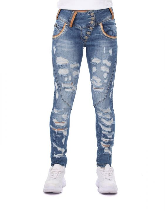 Blue White Women's Ripped Detailed Jean Trousers