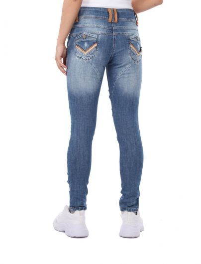 Blue White Women's Ripped Detailed Jean Trousers - Thumbnail