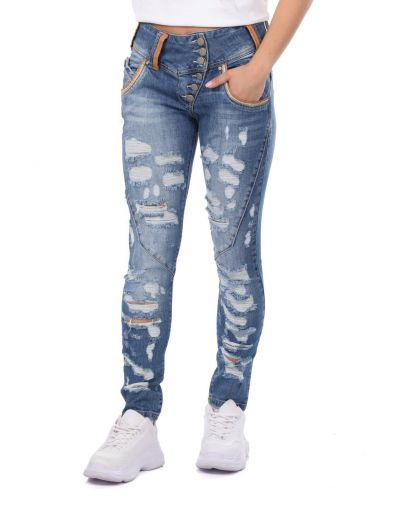 BLUE WHITE - Сине-белые женские рваные джинсовые брюки с детализированной отделкой (1)