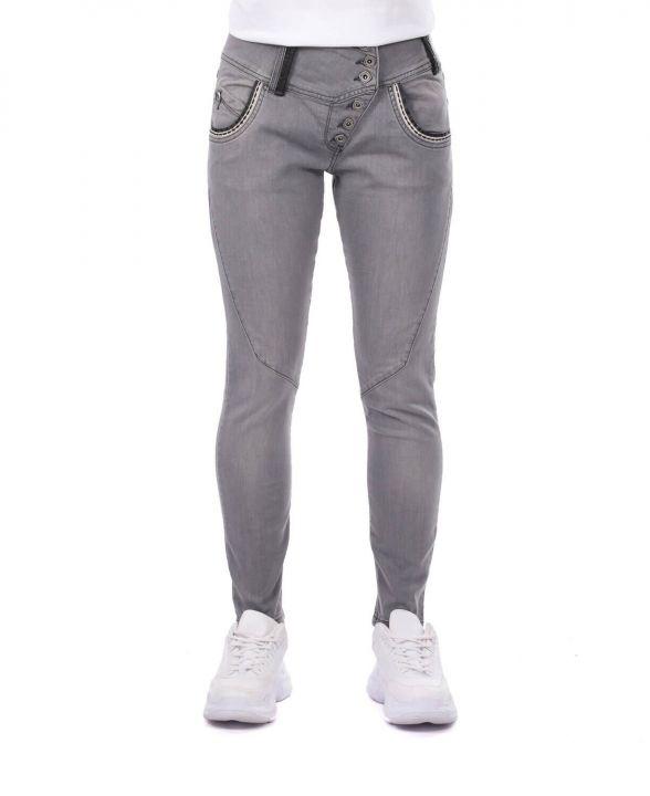 Сине-белые женские рваные джинсовые брюки с детализированной отделкой