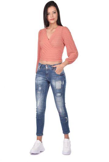 Сине-белые женские мешковатые джинсовые брюки с рисунком - Thumbnail