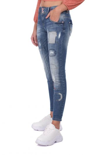 Blue White Women's Patterned Baggy Jean Trousers - Thumbnail