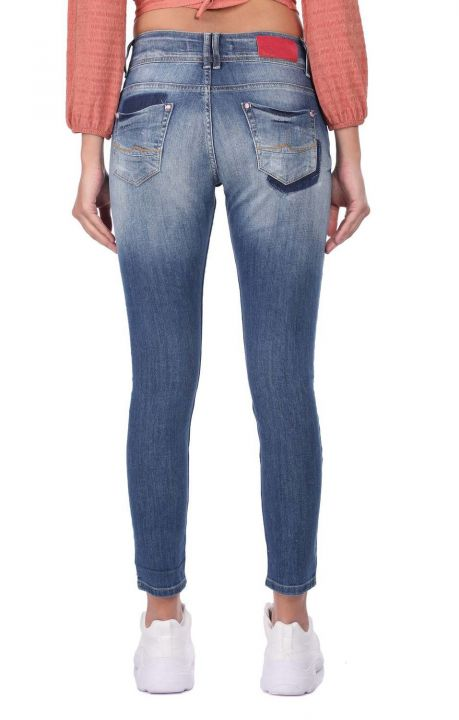Blue White Women's Patterned Baggy Jean Trousers
