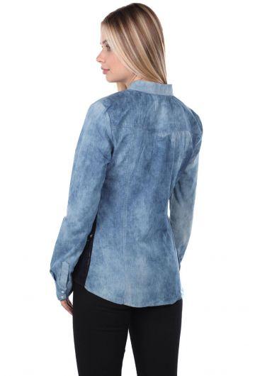 قميص جينز نسائي أزرق أبيض - Thumbnail